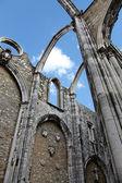 Open roof of Igreja do Carmo ruins in Lisbon, Portugal. — Stock Photo