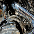Stock Photo: Motorbike engine. Red tank and chrome metal finish engine. Super
