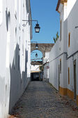 Old urban street in Evora town. Alentejo, Portugal, Europe. — Stock Photo