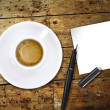 Coffee, with pen and notes — 图库照片