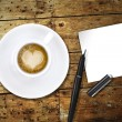 Heart coffee, with pen and notes — Foto de Stock