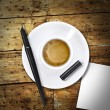 Foto de Stock  : Heart coffee, with pen and notes