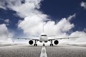 Takeoff plane in airport — Stockfoto