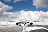 Takeoff plane in airport — Stock Photo