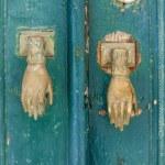 Wooden door vintage metal frame green — Stock Photo #47154833