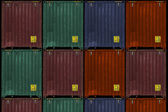 Cargo containers, various colors — Stok fotoğraf