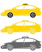 Set of isolated modern taxi cars — Stock Vector
