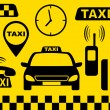 Stock Vector: Transport set of taxi objects