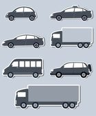 Transport set of isolated cars — Stock Vector