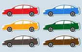 Set of isolated luxury cars silhouettes — Stock Vector