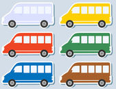 Set of isolated minibus — Stock Vector