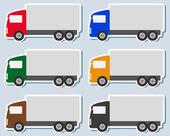 Reeks van kleurrijke sticker met vrachtwagen silhouet — Stockvector