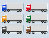 Set of stickers with truck silhouette — Stock Vector
