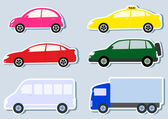 Transport set with colorful cars silhouette — Stock Vector