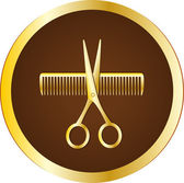 Hairdresser sign with scissors and comb — Stock Vector