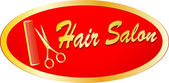 Gold sign of hair salon with scissors and comb — Stock Vector
