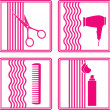 Stock Vector: Set of hairstyling icon