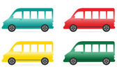 Set of isolated colorful minibus — Stock Vector