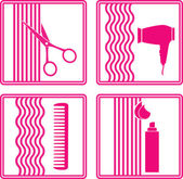 Set of hairstyling icon — Stock Vector