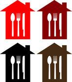Set di segno ristorante con house, cucchiaio, forchetta e coltello — Vettoriale Stock