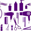 Set of hairstyling objects - Stock Vector