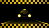 Night taxi car on the road — Stock Vector