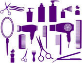 Set of hairstyling objects — Stock Vector