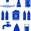 Stock Vector: Water set of icon with house, faucet, drop, bottle