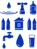 Water set of icon with house, faucet, drop, bottle — Stock Vector