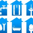 Plumbing set of bathroom icons — Stock Vector