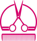 Barbershop icon with scissors and comb — Stock Vector