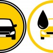Icons with car and fuel oil drop — Image vectorielle