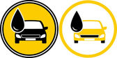 Iconos con el coche y gota de aceite combustible — Vector de stock
