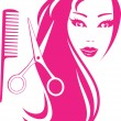 Beautiful girl with scissors and comb - Stockvectorbeeld