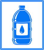 Icon with water drop and bottle — Stok Vektör