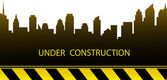 Construction background with city silhouette — Stock Vector