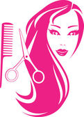 Beautiful girl with scissors and comb — Stock Vector
