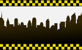Signo de fondo y taxi ciudad — Vector de stock