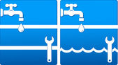 Water icons with tap and wrench — Stock Vector
