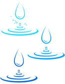 Set with water splash and drop — Stock Vector