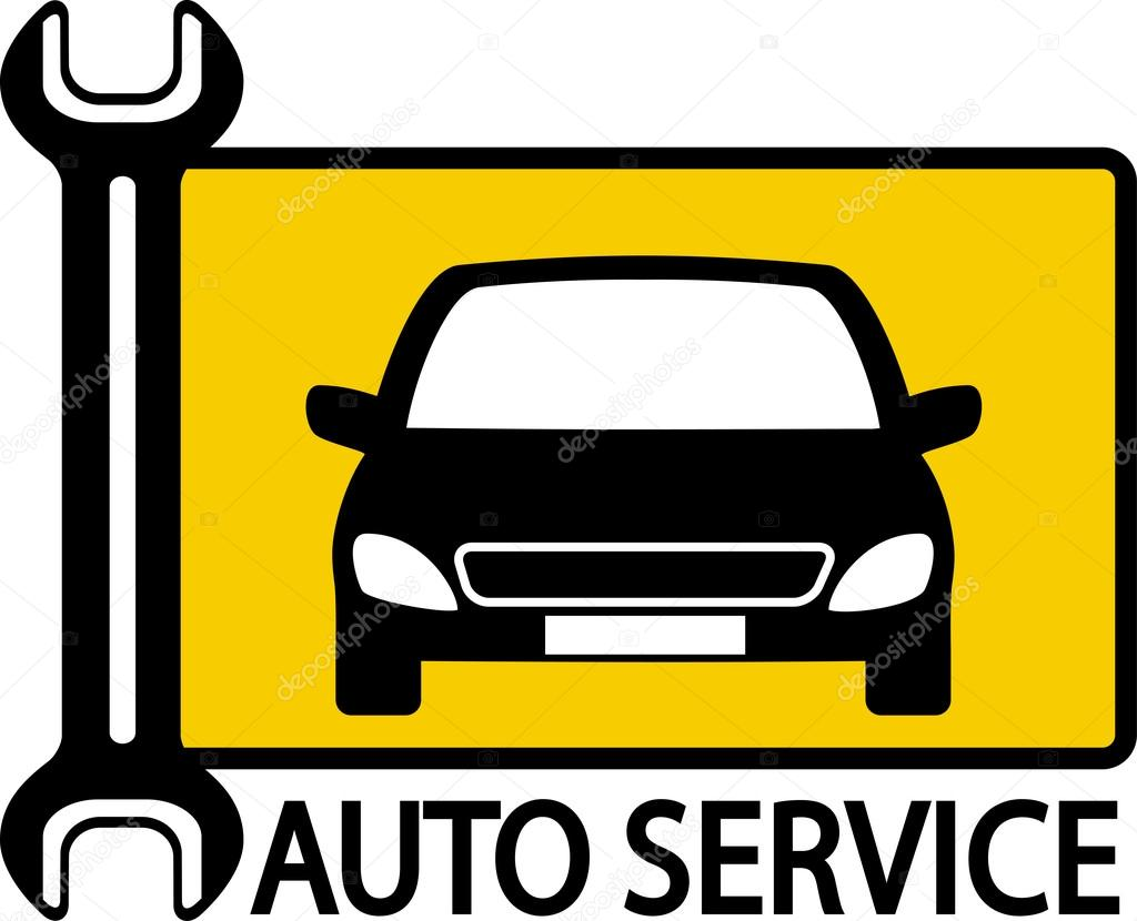 autoservice sign with car and wrench stock vector. Black Bedroom Furniture Sets. Home Design Ideas