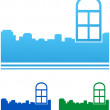 Icons with colorful windows and city — Stock Vector #23312338