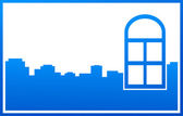 Blue window and city silhouette — Stock Vector