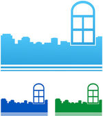 Icons with colorful windows and city — Stock Vector