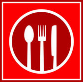 Red restaurant sign with utensil — Stock Vector