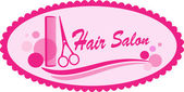 Pink hair salon symbol — Stock Vector