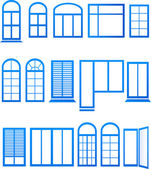 Set of blue window icons — Stock Vector
