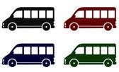 Set of minibus icons — Stock Vector