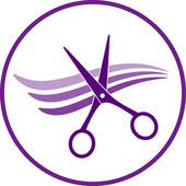 Icon with hair and scissors — Stock Vector