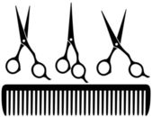 Set of professional scissors — Stock Vector